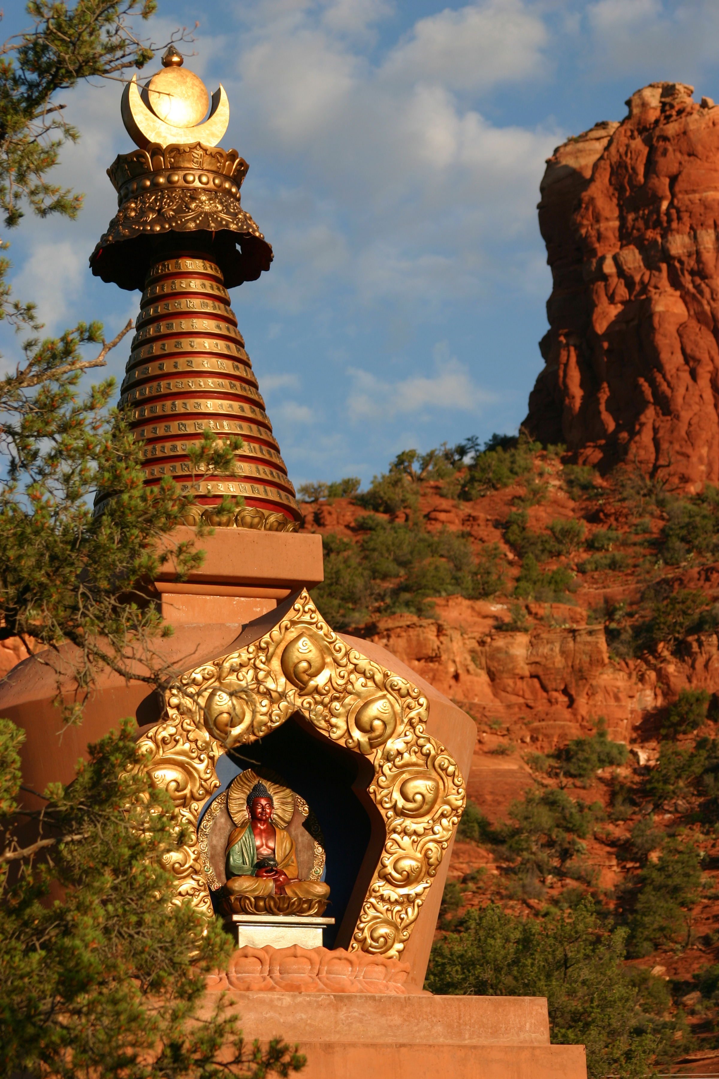 Amitabha Stupa and Red Rocks