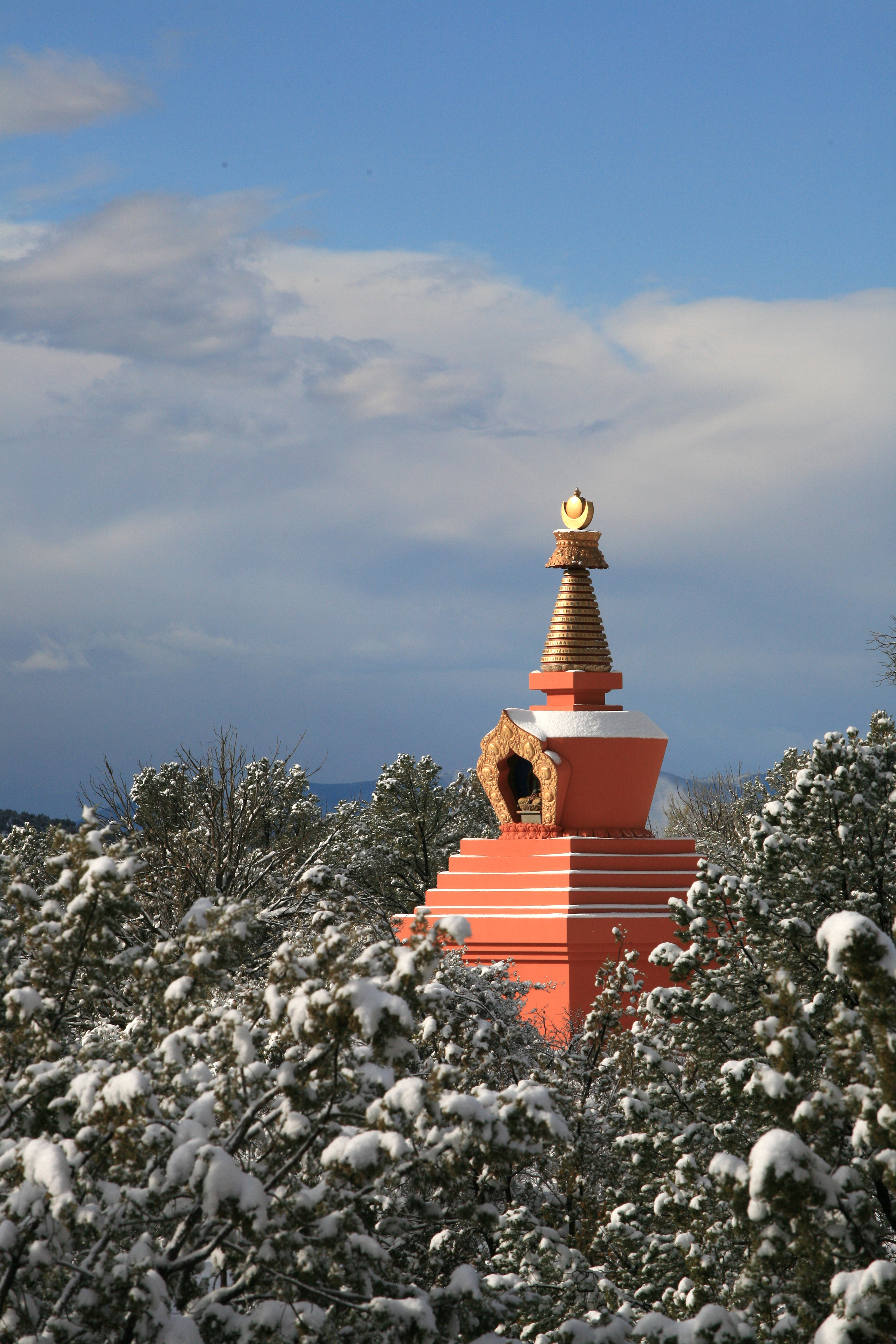 Amitabha Stupa Winter with sky
