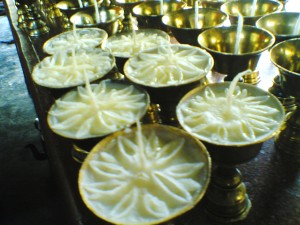 7 Miraculous butterlamps--butter set in the form of lotuses